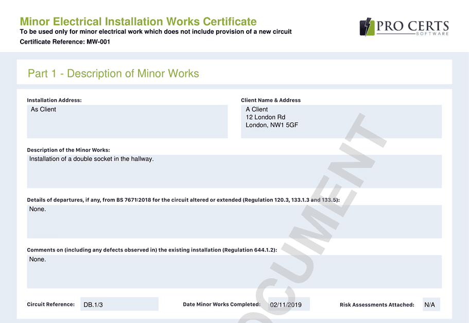 Minor Works Certificate